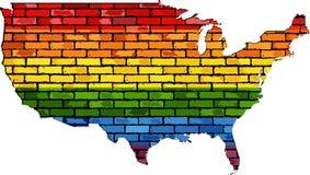 Mapa de los E.E.U.U. en colores de LGBT Imágenes de archivo libres de regalías
