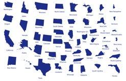 Mapa de los Estados Unidos Fotos de archivo