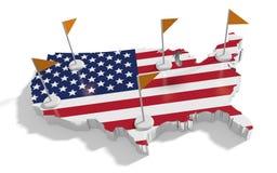 Mapa de los Estados Unidos de América con las banderas en las astas de bandera Imágenes de archivo libres de regalías
