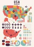 Mapa de los Estados Unidos de América los E.E.U.U. con los elementos del infographics Fotos de archivo
