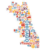 Mapa de los iconos y de las atracciones de la ciudad de Chicago Illinois Fotos de archivo