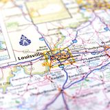 Mapa de Louisville Foto de Stock Royalty Free