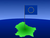 Mapa de Luxembourg com bandeira Foto de Stock Royalty Free