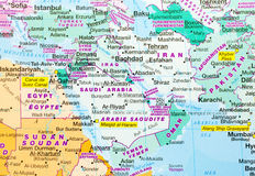 Mapa de Médio Oriente fotografia de stock royalty free