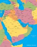 Mapa de Médio Oriente Fotos de Stock Royalty Free