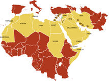 Mapa de Médio Oriente. Foto de Stock Royalty Free