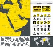 Mapa de Médio Oriente e de Ásia e ícones da tecnologia nuclear Imagens de Stock