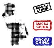 Mapa de Macao del chino en Dot Style de semitono con los sellos del subtítulo del Grunge libre illustration
