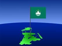 Mapa de Macau com bandeira Imagens de Stock Royalty Free