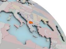Mapa de Macedonia con la bandera Imágenes de archivo libres de regalías