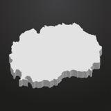 Mapa de Macedonia en gris en un fondo negro 3d Imagenes de archivo