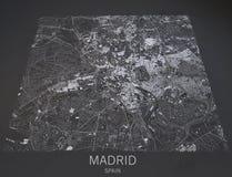 Mapa de Madrid, visión por satélite, mapa en la negativa, España Imagenes de archivo