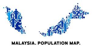 Mapa de Malasia del Demographics stock de ilustración