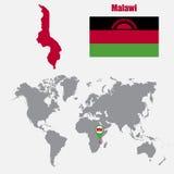 Mapa de Malawi en un mapa del mundo con el indicador de la bandera y del mapa Ilustración del vector ilustración del vector