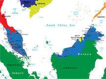 Mapa de Malaysia Foto de Stock Royalty Free