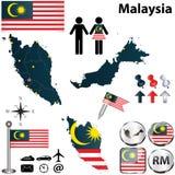 Mapa de Malásia Fotografia de Stock Royalty Free