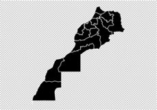 Mapa de Marruecos - mapa negro detallado del alto con los condados/las regiones/los estados de Marruecos mapa de Marruecos aislad stock de ilustración
