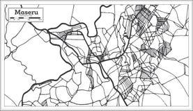 Mapa de Maseru Lesotho en color blanco y negro Ilustraci?n del vector