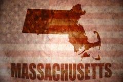 Mapa de Massachusetts do vintage imagem de stock