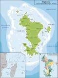 Mapa de Mayotte Imágenes de archivo libres de regalías