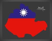 Mapa de Miaoli Taiwan com ilustração taiwanesa da bandeira nacional Fotos de Stock Royalty Free