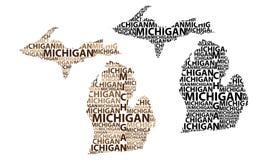 Mapa de Michigan - ilustração do vetor Foto de Stock