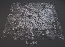 Mapa de Milán, visión por satélite, mapa en la negativa, Italia Fotografía de archivo libre de regalías