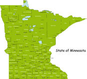 Mapa de Minnesota Fotos de Stock Royalty Free