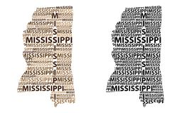 Mapa de Mississippi - ilustração do vetor Imagem de Stock Royalty Free