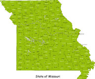 Mapa de Missouri Fotos de Stock Royalty Free