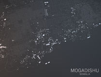 Mapa de Mogadishu, Somália Foto de Stock Royalty Free