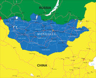 Mapa de Mongólia Ilustração Royalty Free