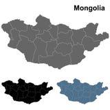 Mapa de Mongolia en gris, azul y negro Imagenes de archivo