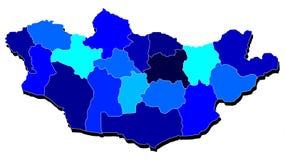 Mapa de Mongolia en sombras del azul Stock de ilustración