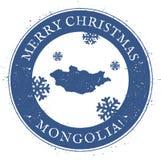 Mapa de Mongolia Feliz Navidad Mongolia del vintage Foto de archivo libre de regalías