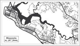 Mapa de Monrovia Liberia en color blanco y negro Ilustraci?n del vector