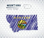 Mapa de Montana con el mapa de bosquejo dibujado mano dentro Ilustración del vector Fotos de archivo libres de regalías