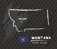 Mapa de Montana, dibujo del vector en la pizarra Fotografía de archivo
