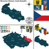 Mapa de Moravian Silesian, República Checa Imagens de Stock