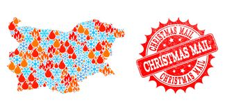Mapa de mosaico de Bulgária do fogo e dos flocos de neve e do selo do Grunge do correio do Natal ilustração stock