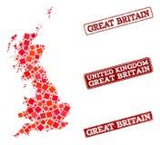 Mapa de mosaico da colagem do selo de Grâ Bretanha e de escola do Grunge ilustração stock