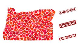 Mapa de mosaico da composição do selo da escola do estado e da aflição de Oregon ilustração stock
