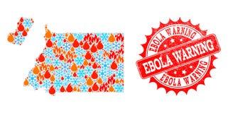 Mapa de mosaico da Guiné Equatorial da chama e da neve e do selo de advertência da aflição de Ebola ilustração do vetor