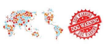 Mapa de mosaico da terra da chama e do selo de advertência da aflição da neve e do cão ilustração royalty free