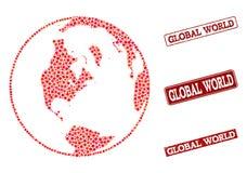 Mapa de mosaico del mundo y de la composición globales del sello de la escuela del Grunge ilustración del vector