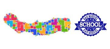 Mapa de mosaico del sao Miguel Island y de la composición del sello de la escuela del Grunge ilustración del vector