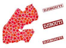Mapa de mosaico de Djibouti y del collage rasguñado del sello de la escuela stock de ilustración