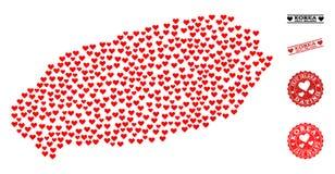 Mapa de mosaico do coração de selos da ilha e do Grunge de Jeju para Valentim ilustração royalty free