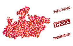 Mapa de mosaico do estado de Madhya Pradesh e de colagem Textured do selo da escola ilustração royalty free