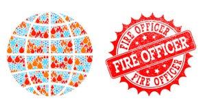 Mapa de mosaico do mundo global da chama e do oficial Scratched Stamp da neve e do fogo ilustração stock